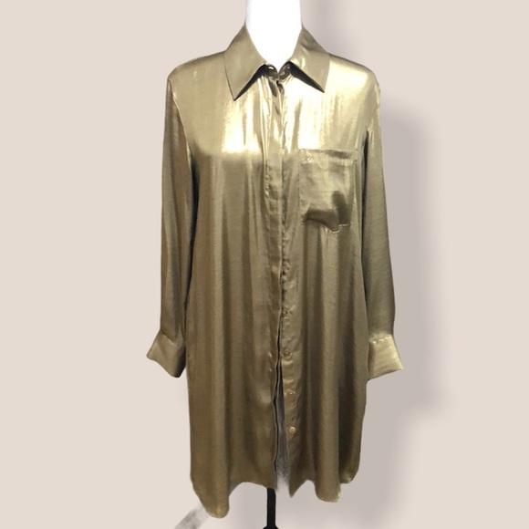 Zara Long Button Down Golden Blouse
